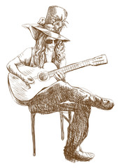 Guitar player - Eccentric, hand drawing