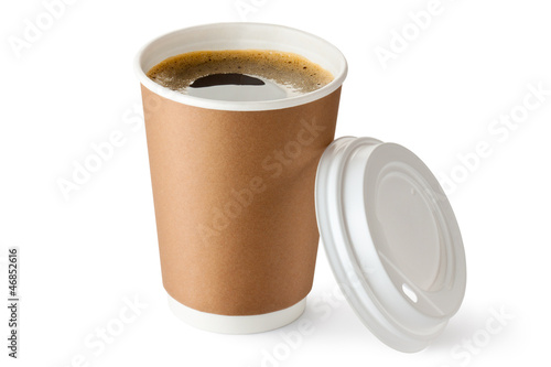 Foto op Canvas Koffie Opened take-out coffee in cardboard cup