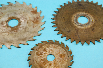circular saw disks blades on blue