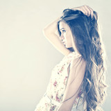 Portrait of pretty young girl with Healthy Long Hair
