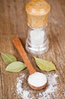salt in spoon and shaker, bay leaves