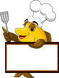 yellow cartoon cook fish with blank sign