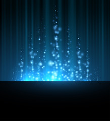 abstract blue north shining star blurred lines background. dark