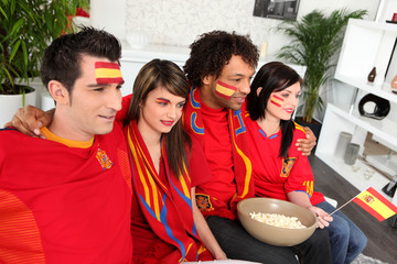 Spanish friends gathered for the game