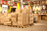 rack stack arrangement of cardboard boxes in a store warehouse