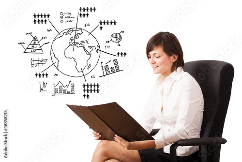 Young woman presenting globe with diagrams isolated on white