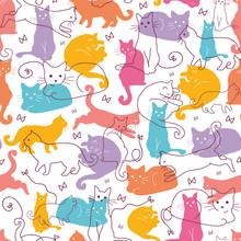 Wektor kolorowe koty bezszwowe tło wzór. uroczy, ręcznie