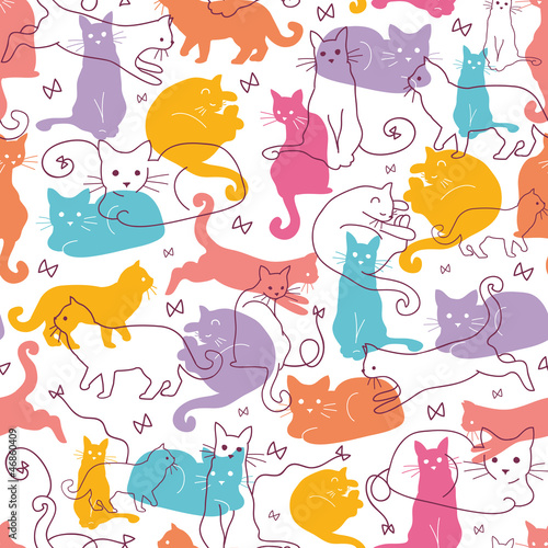 Vector Colorful Cats Seamless Pattern Background. Cute, hand