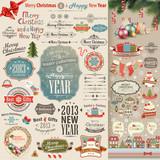 Fototapety Christmas vintage Scrapbook set
