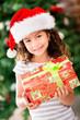 Christmas girl holding a present