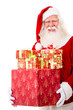 Happy Santa with Christmas gifts