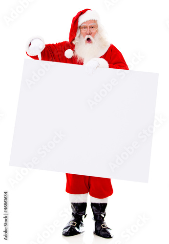 Surprised Santa with a banner