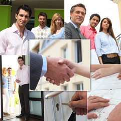 Mosaic of couples viewing property with estate agent