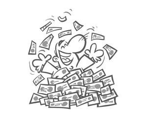 Cartoon Man beset with Bills. Outline version.