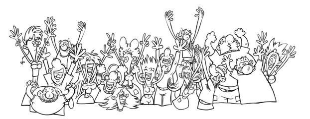 Cartoon Party People. Outline drawing.