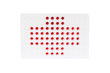 96 well plate with blue and red fluids represent redcross flag