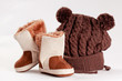 child winter boots and cap