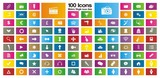 100 metro style rectangle icon sets