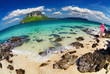 Tropical beach, fisheye shot
