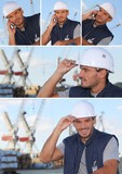 Images of a man working on an oil rig
