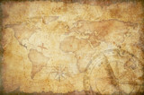 wiek skarbca mapy, linijka, liny i stare mosiądz kompas martwa natura