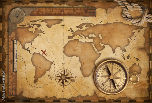 aged treasure map, ruler, rope and old brass compass still life Poster