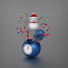 Snowman and ornaments bounced out from sphere alarm clock