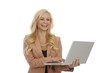 Happy businesswoman holding laptop