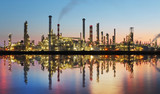 Oil gas refinery with reflection, factory, petrochemical plant