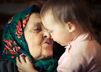 Very old grandmother with granddaughter