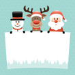 Snowman, Rudolph & Santa Label Dots Retro
