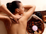 Fototapeta Woman having massage in the spa salon