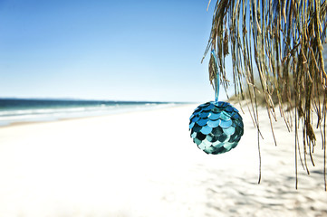a blue bauble hangs from a tree at the beach