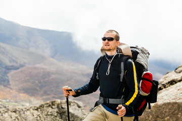 Man hiking in mountains Himalayas, Nepal
