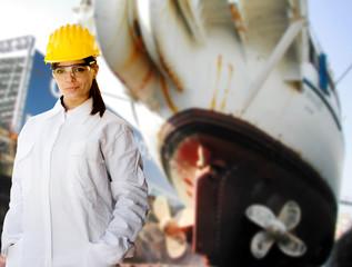 female naval worker at shipyard