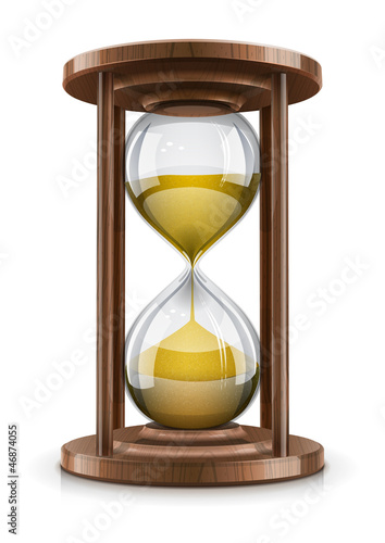 vintage hourglass in wooden frame vector illustration isolated