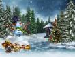 Bałwan ze świątecznymi prezentami i kolorową choinką