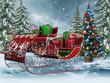 Sanie retro ze świątecznymi prezentami i choinką