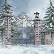 Cmentarna brama w zimowym lesie