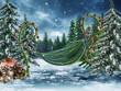 Huśtawka z liścia ze świątecznymi ozdobami