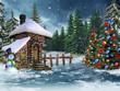 Zimowy krajobraz z chatką, bałwanem i choinkami