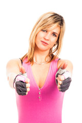 Fitness woman thumbs up