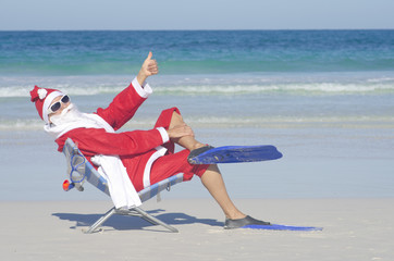 Santa Claus Christmas at Beach