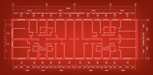 vector big house construction project. vector blueprint