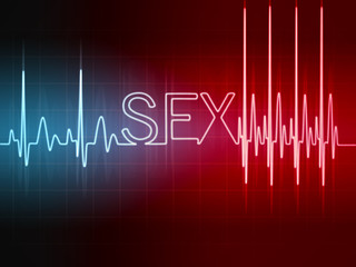 cardiogram  sign sex with glowing letters