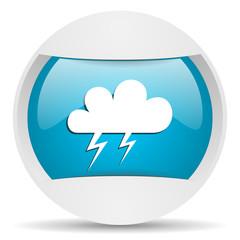 weather round blue web icon on white background