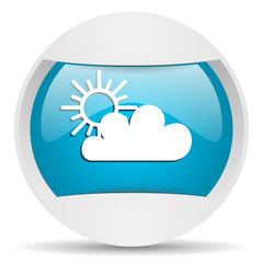 weather round blue web icon on white background