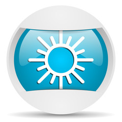 sun round blue web icon on white background