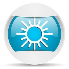 sun round blue web icon on white background