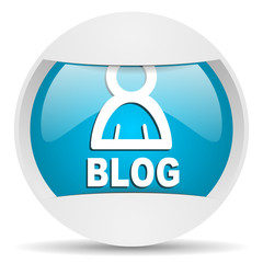blog round blue web icon on white background